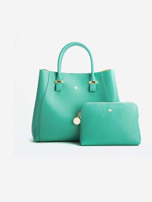 Jane Vegan Leather Satchel   Tiffany Blue