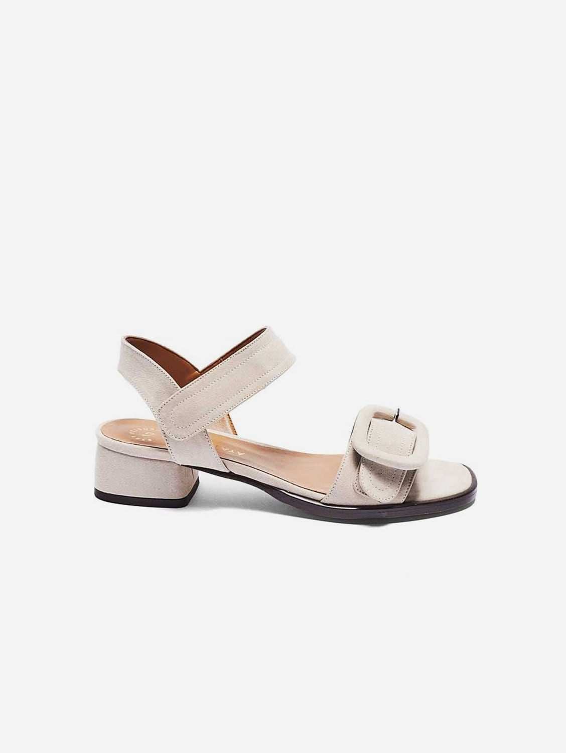 Janet Recycled Polyester Vegan Suede Buckle Sandal | Taupe