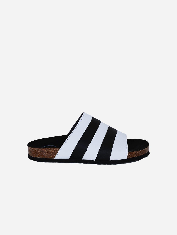 Jerry Apple Leather Vegan Slide-On Sandal | Black & White