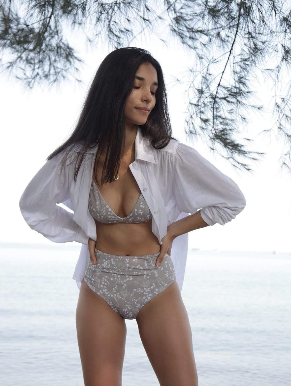 Caspian ECONYL® High Waisted Bikini Bottom   Reversible Russian Summer Print/White