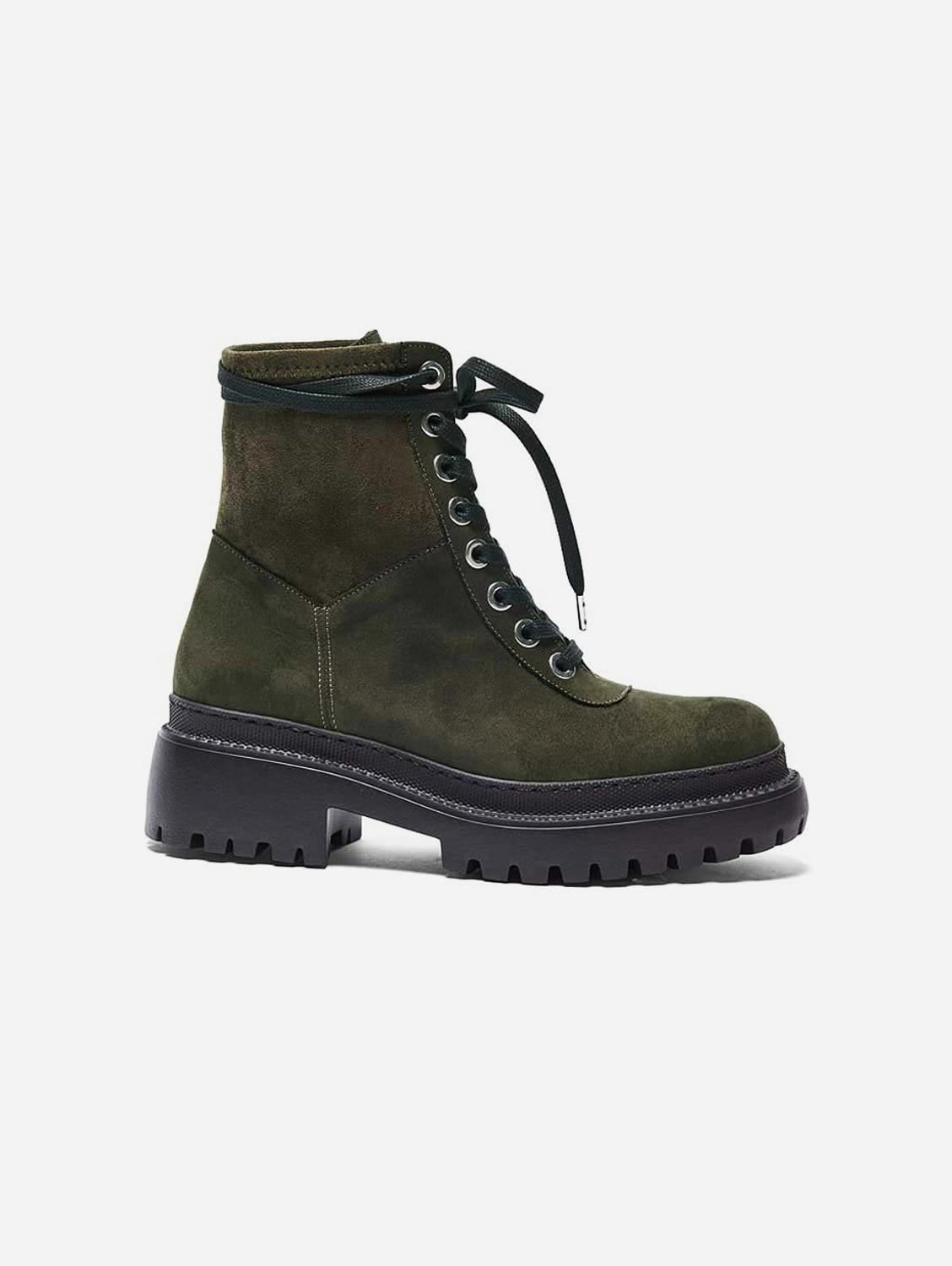 Isolda Recycled Polyester Vegan Suede Lace-up Boots   Khaki