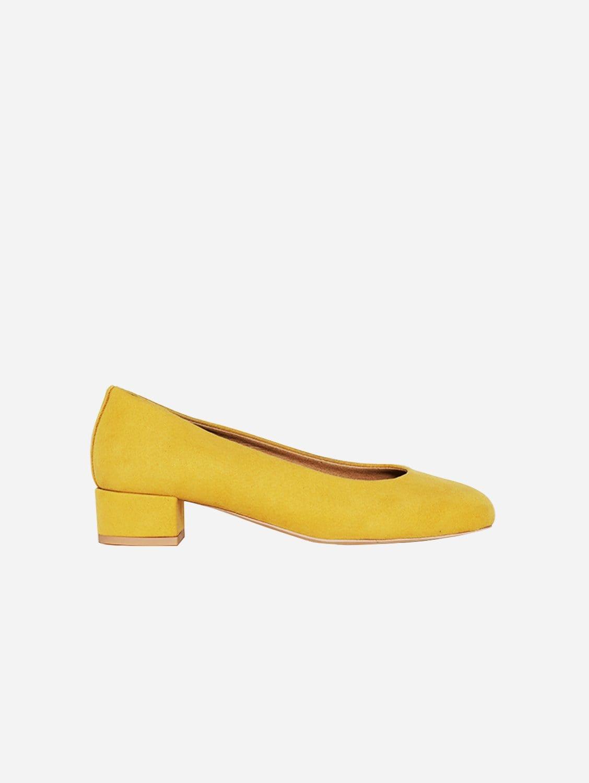 Betty Vegan Suede Ballerinas | Mustard Yellow