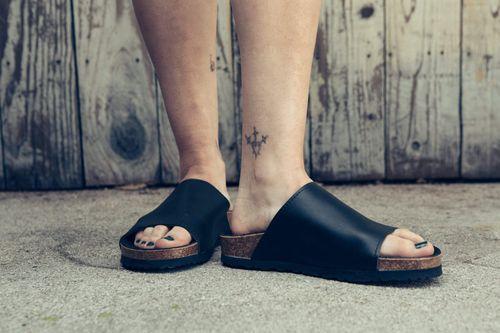 Good Guys Don't Wear Leather Jenny Vegan Leather Slide-on Sandals | Black