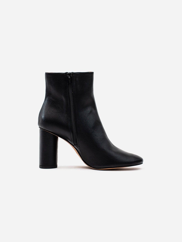 Isabella Vegan Grain Leather Heeled Ankle Boots | Black