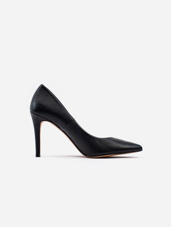 Sophie Vegan Leather Stiletto Court Shoe   Black