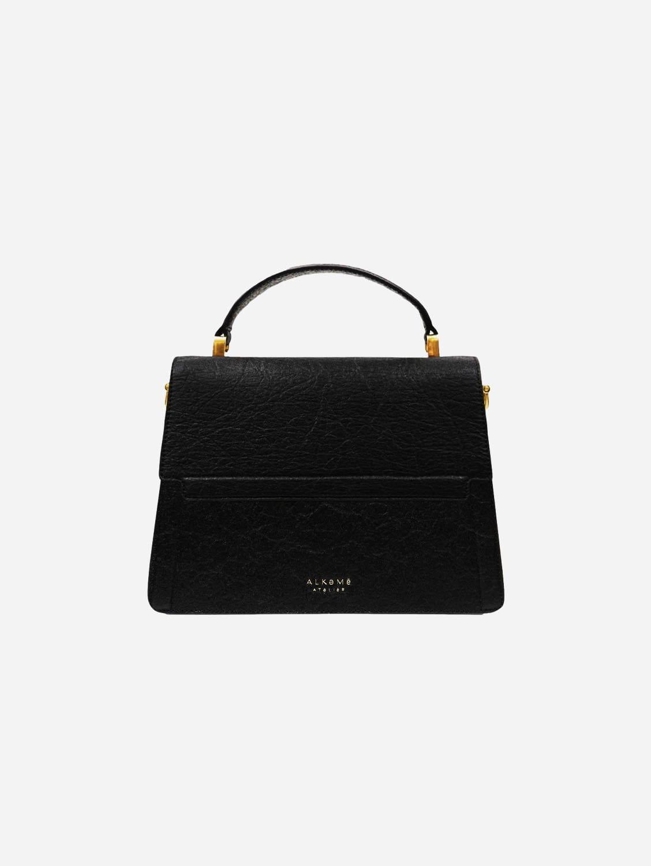 Fire Piñatex Vegan Leather Flap Crossbody Bag | Black