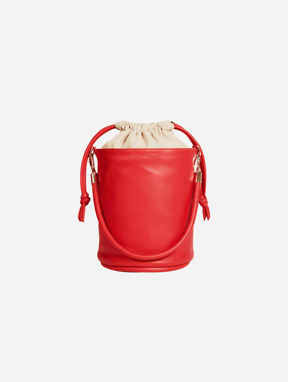 Vegan Leather Mini Bucket Bag | Rouge