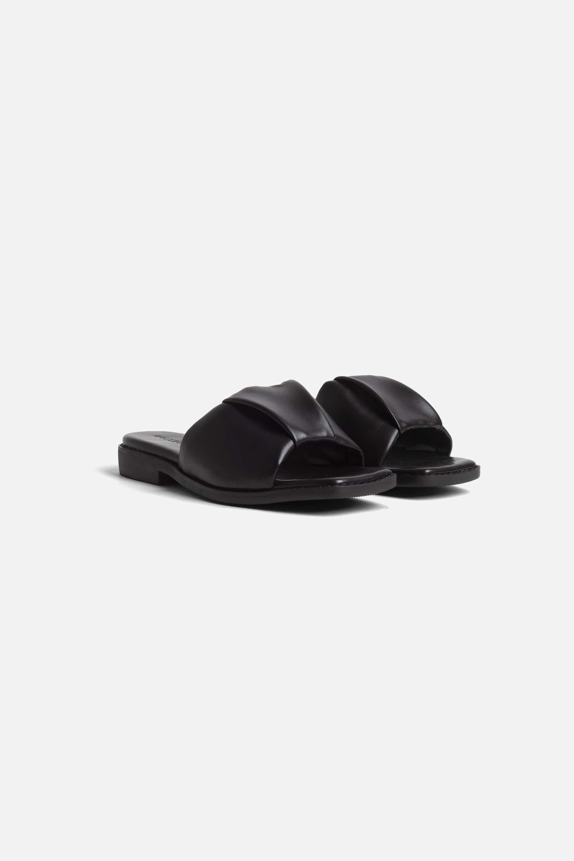 Collection & Co Nina Up-Cycled Vegan Leather Ruched Sandal | Black