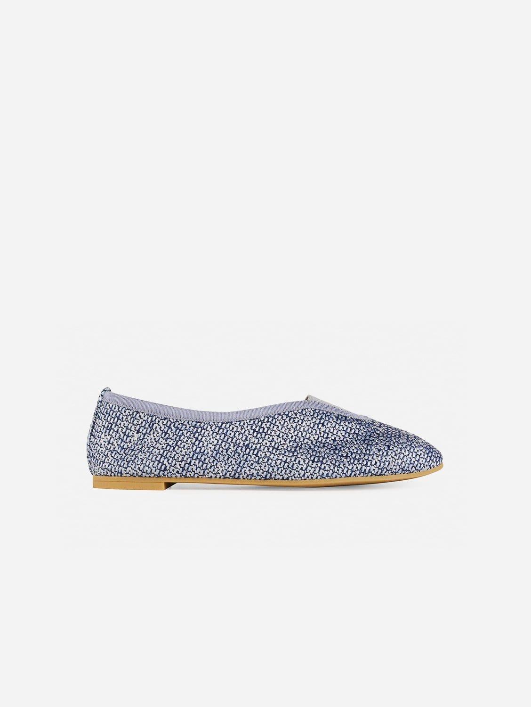 Rhythmic Vegan Ballet Flats | Silver & Blue Tweed