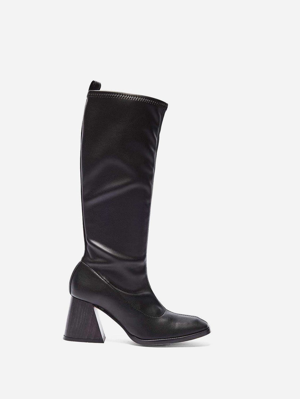 Luz Vegan Leather Knee Boots   Black