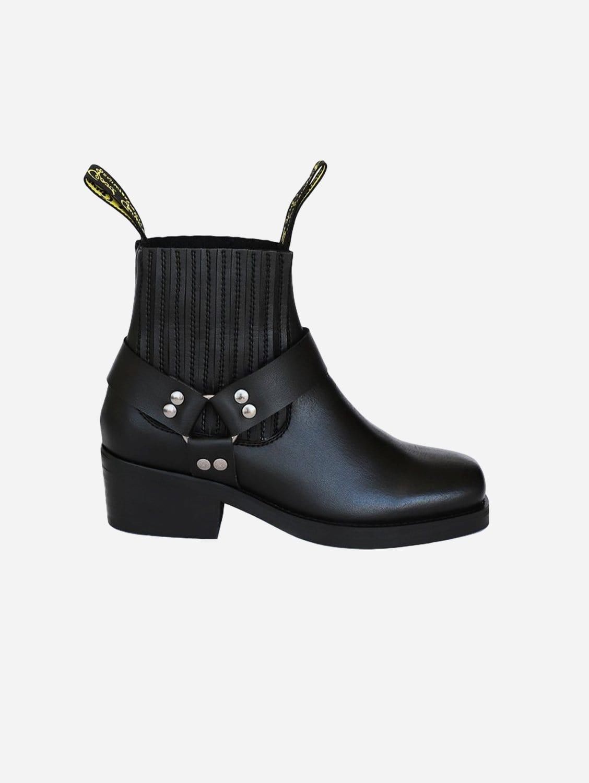 Eddie Vegan Leather Ankle Motorcycle Boot | Black