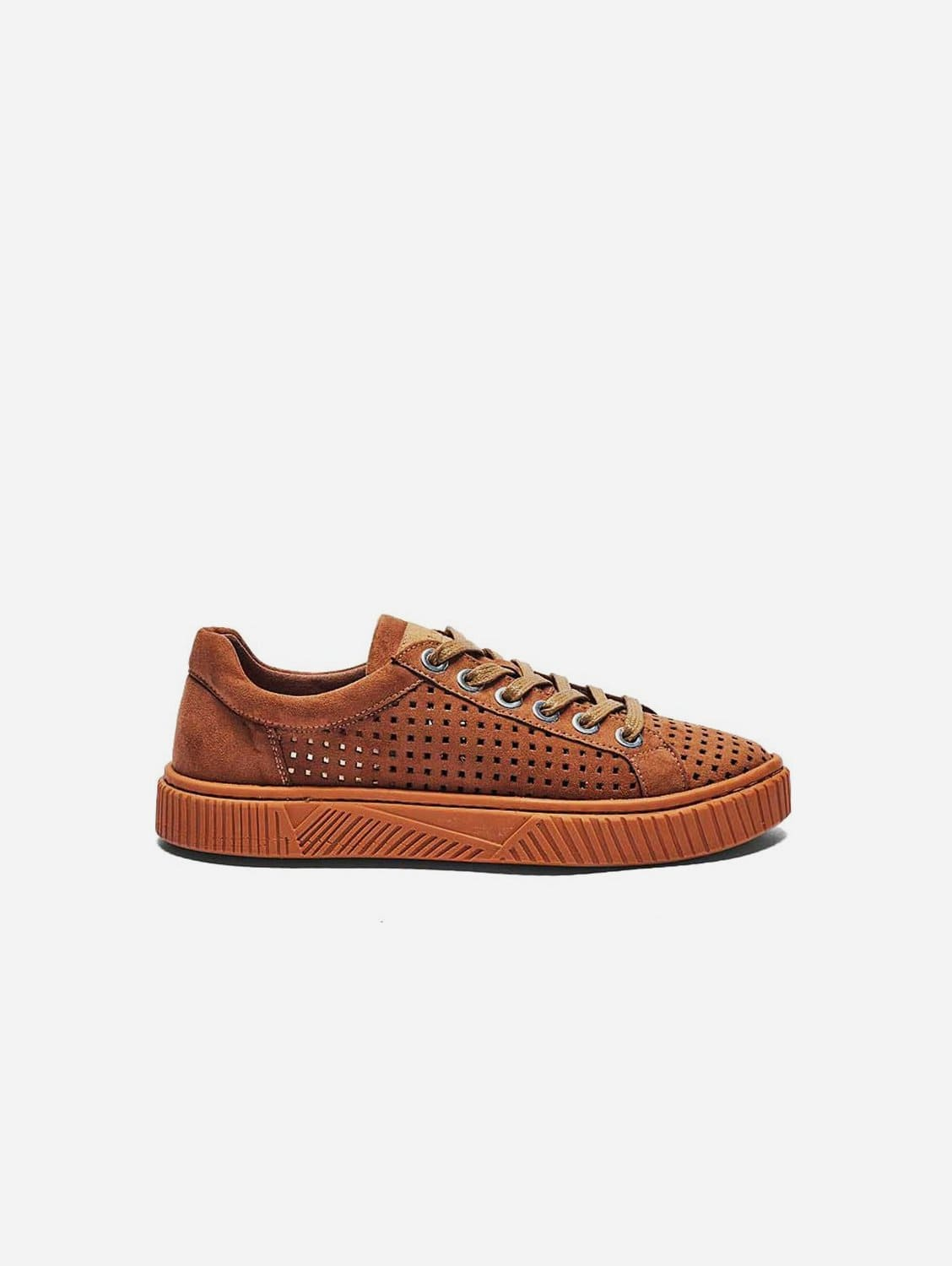 Jolie Recycled Polyester Vegan Suede Trainer | Camel