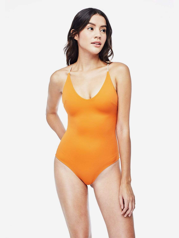 Seliger ECONYL® One Piece Swimsuit   Reversible Burnt Orange/Cloud