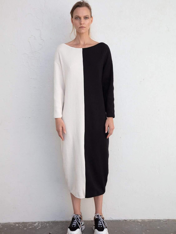 Luna Recycled Cotton Rib Knit Dress | Half Moon