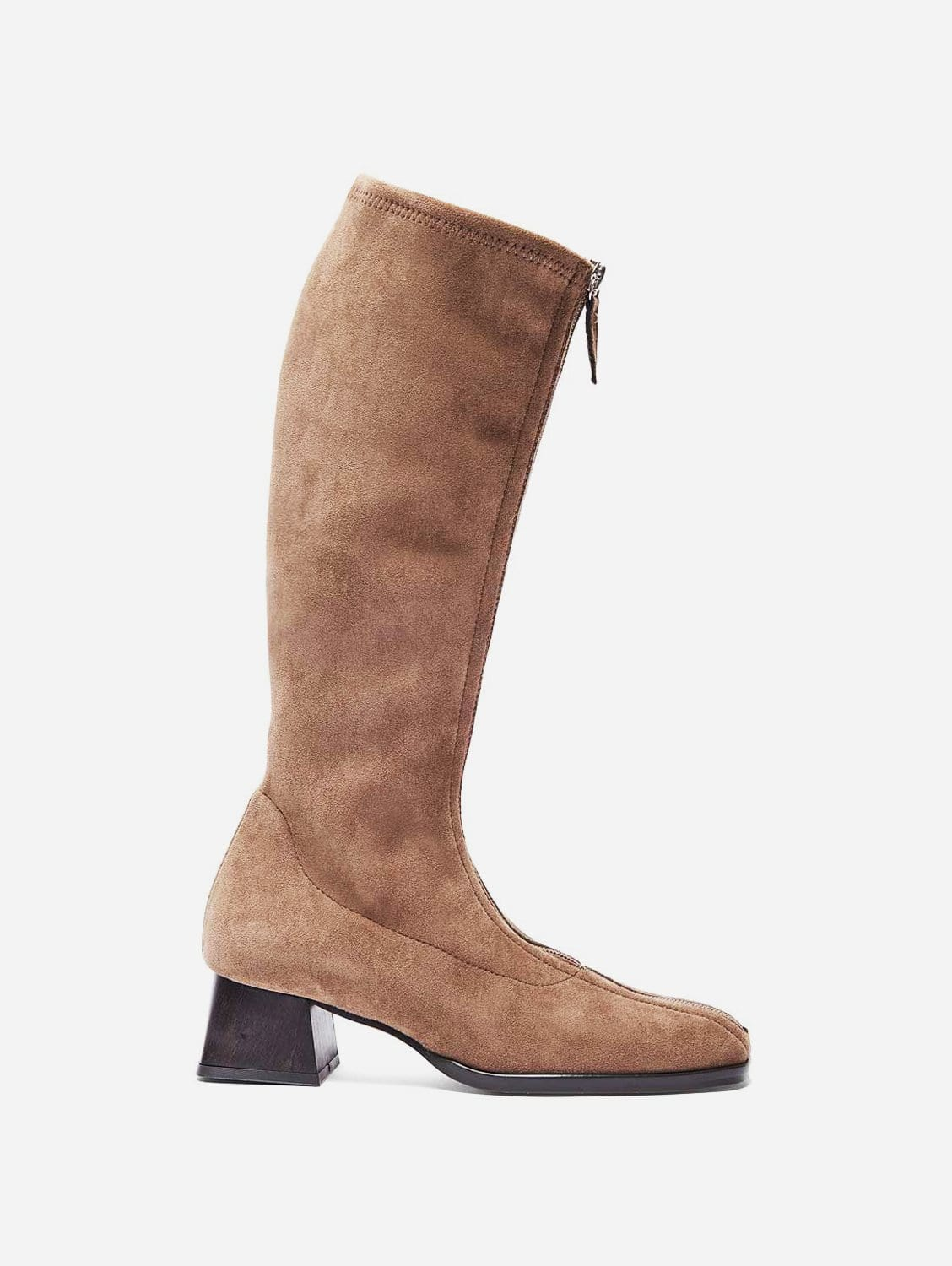 Leticia Recycled Polyester Vegan Suede Knee Boots   Taupe