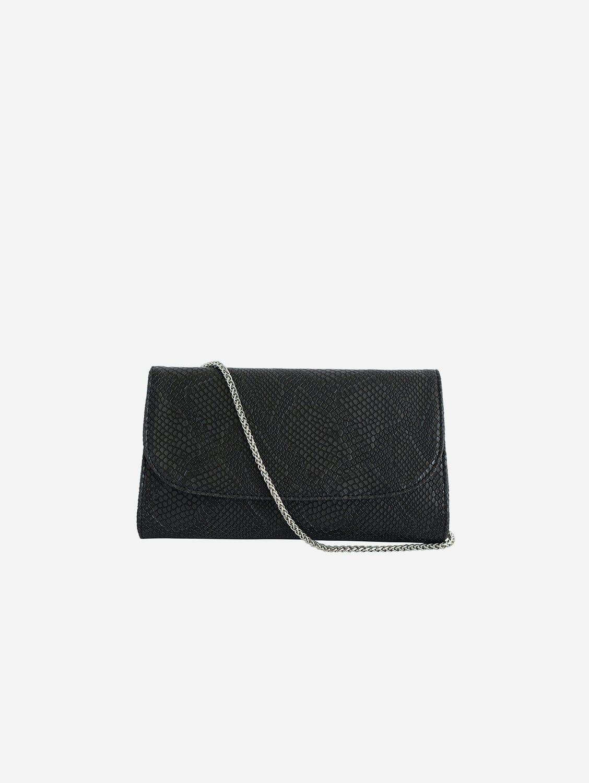 Didi Vegan Leather Clutch   Black