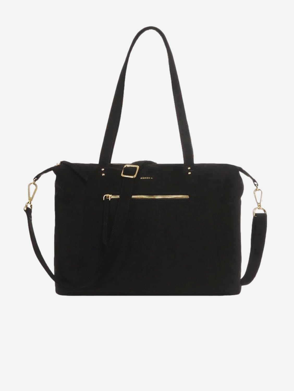 Mia Vegan Suede Tote Bag | Black