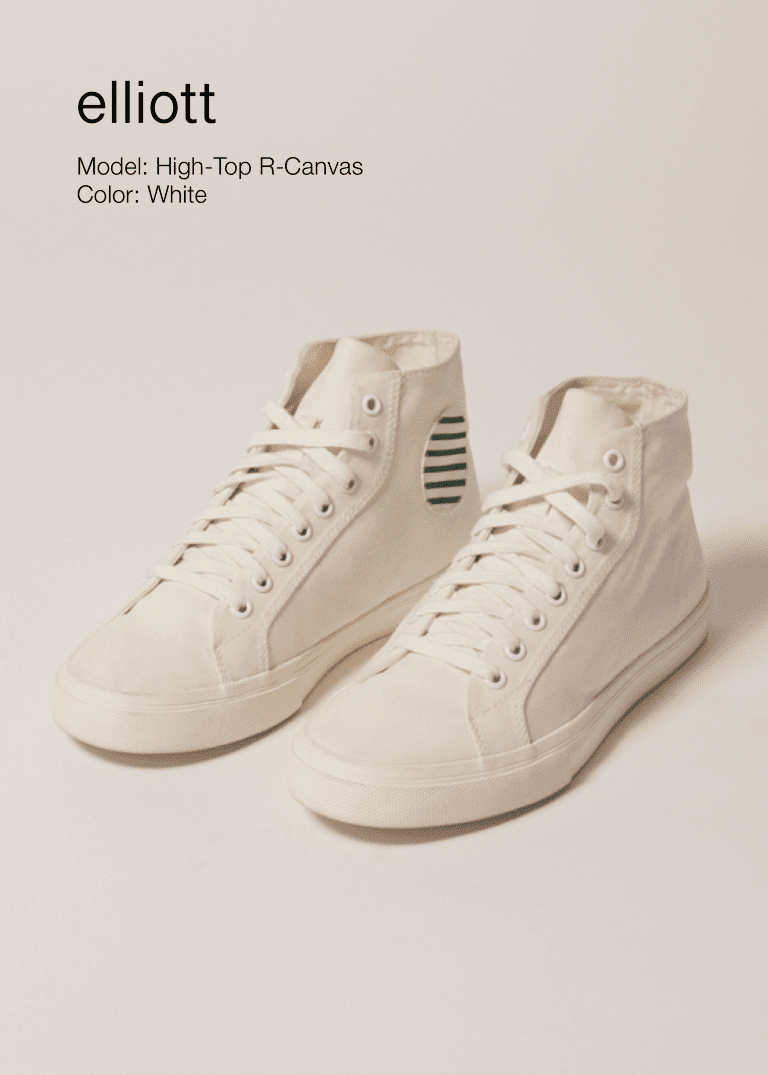 Elliott Climate Positive Recycled Canvas High-Top Trainer | White/Stripes