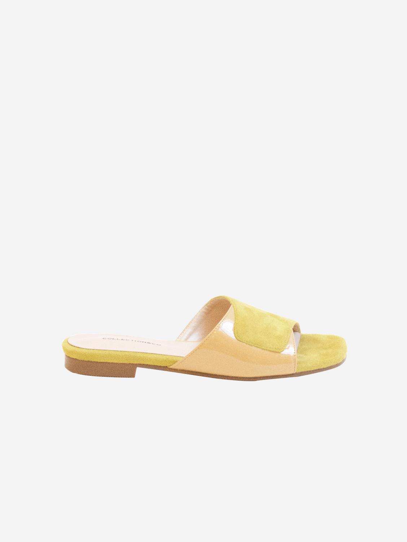 Elia Vegan Leather Cross Over Sandal | Two-Tone Yellow