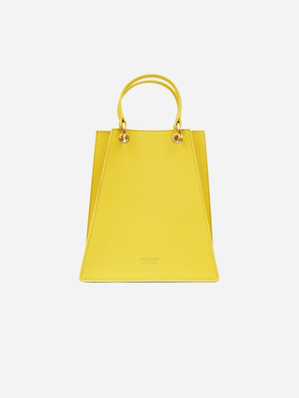 Fire Vegan Leather Triangular Satchel | Yellow