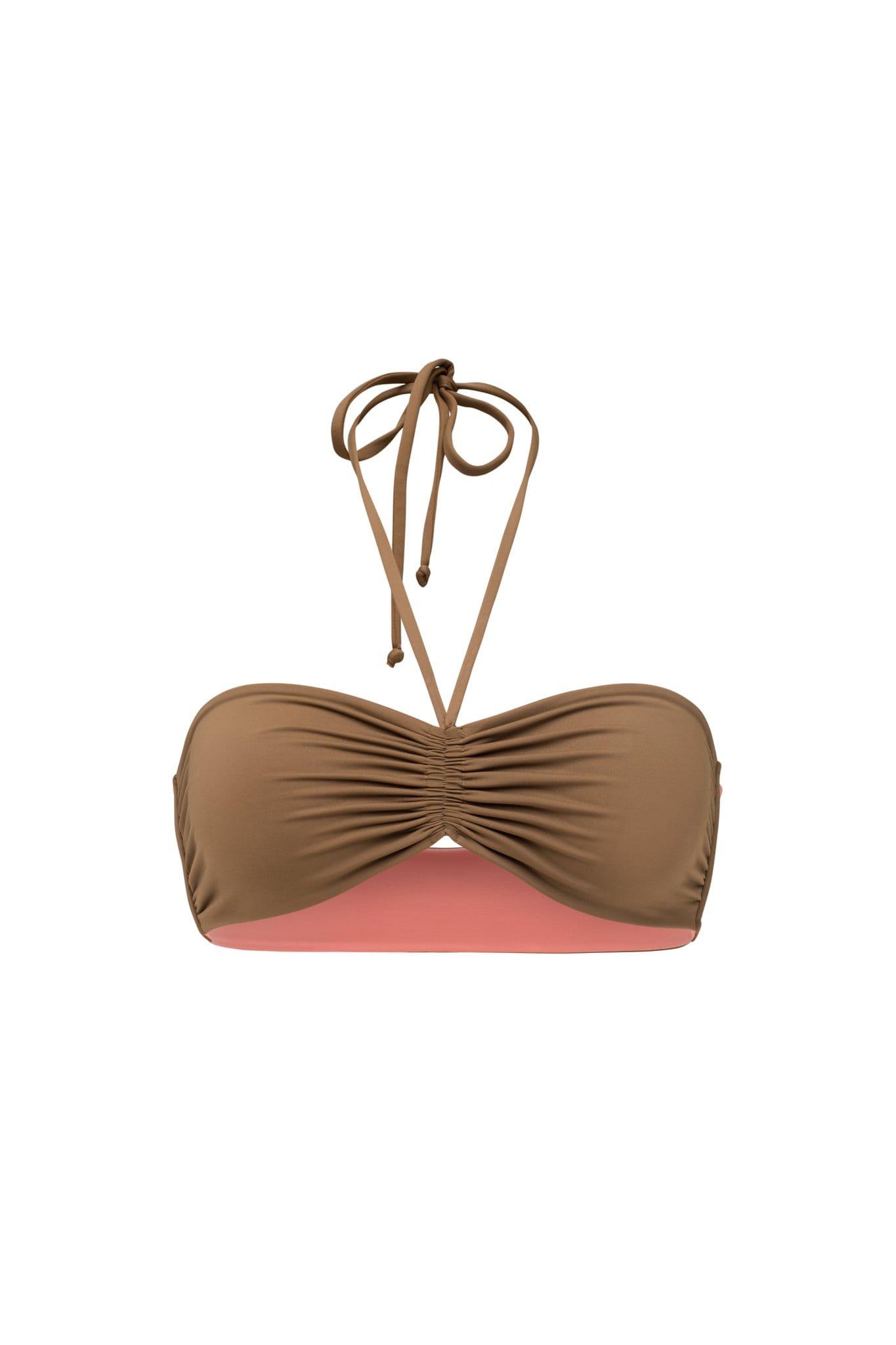 Ozero Swimwear Vida ECONYL® Bandeau Bikini Top   Reversible Mocha/Dusty Coral