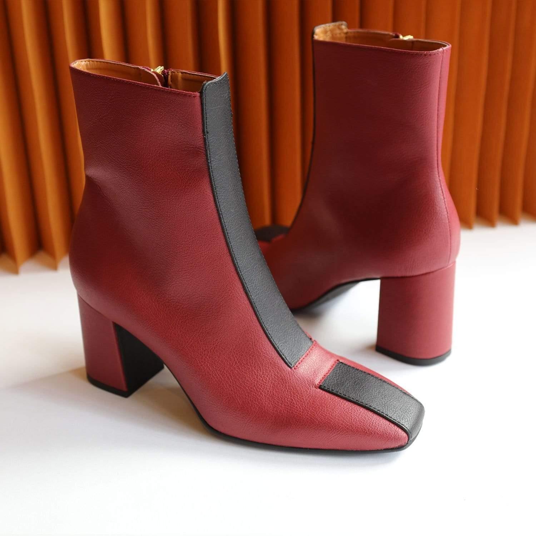 Sylven New York Jayne Apple Leather Vegan Boot   Scarlet Red & Black