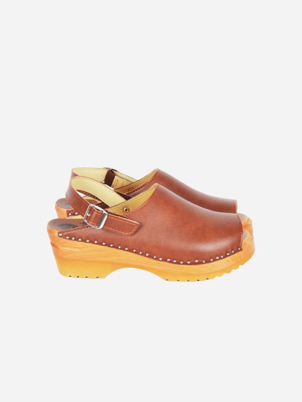 Eva Vegan Leather Open Toe Clogs   Brown