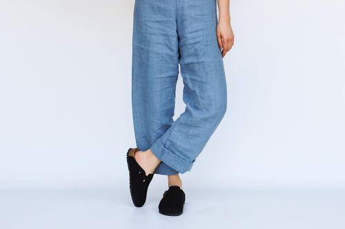 Good Guys Don't Wear Leather Gena Vegan Suede Slide-On Sandal   Black