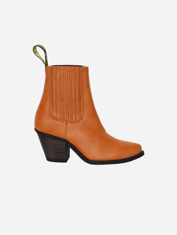 Daisy Vegan Leather Heeled Cowboy Boots | Honey