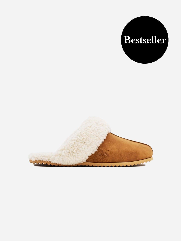 Organic Cotton Vegan Wool & Suede Slipper | Tan