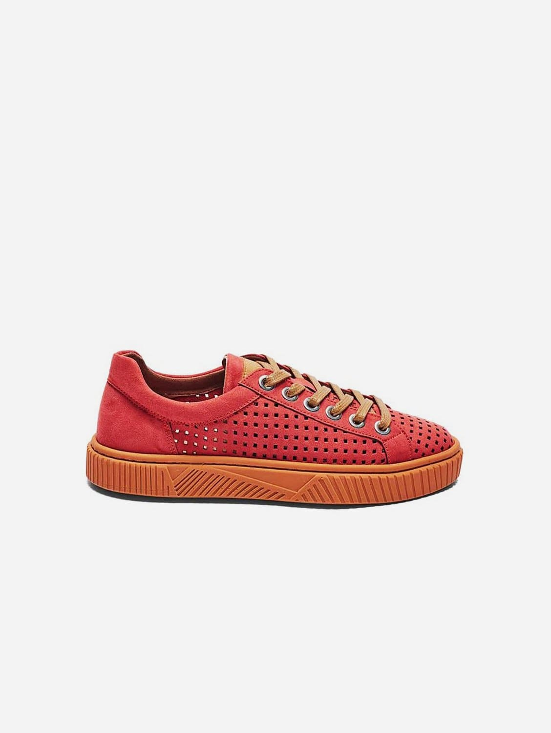 Jolie Recycled Polyester Vegan Suede Trainer | Watermelon