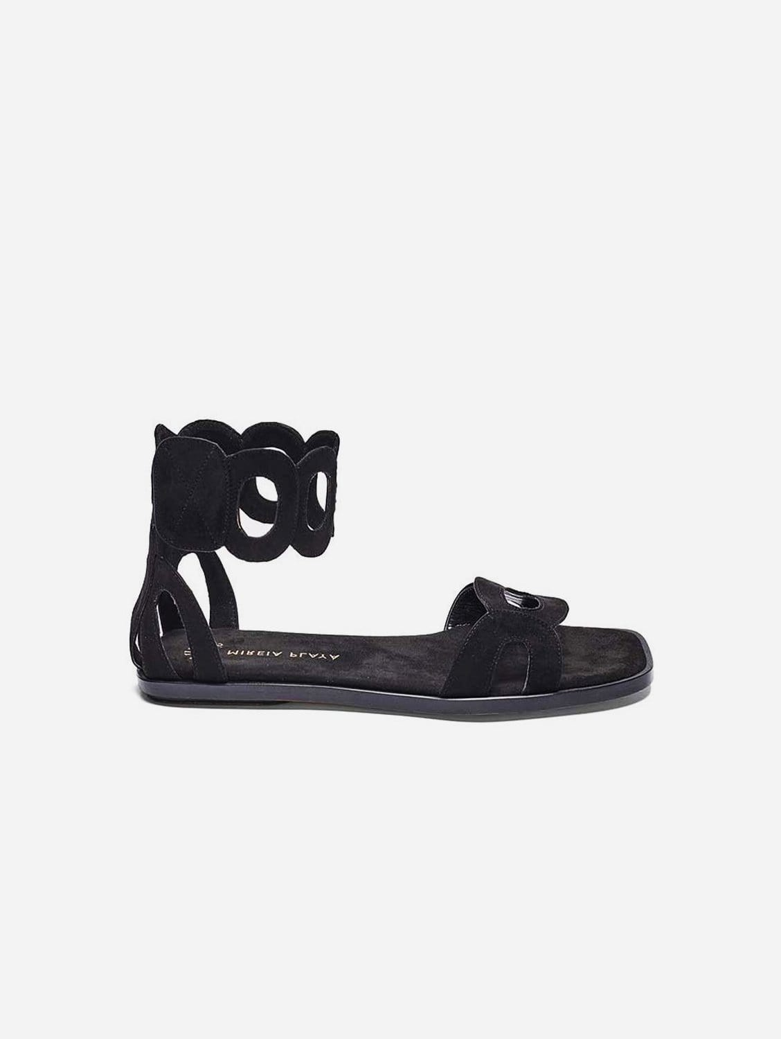 Hortensia Recycled Polyester Vegan Suede Ankle Sandal | Black