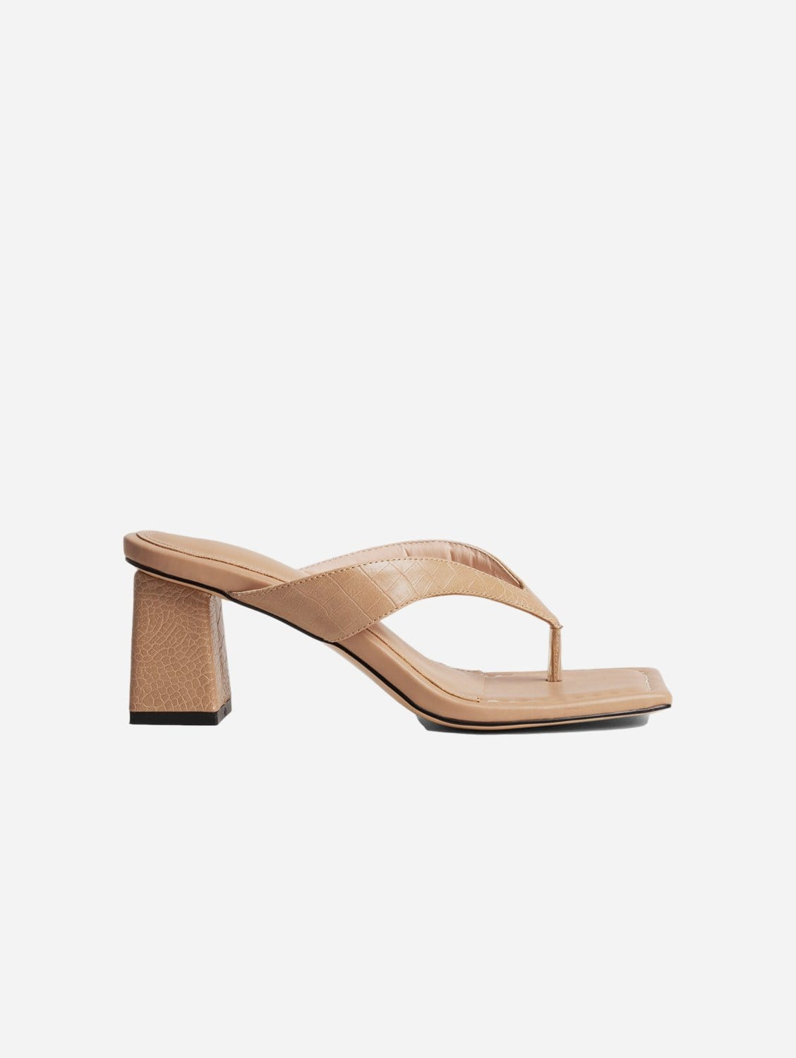 Philo Up-Cycled Vegan Leather Square Toe Heeled Sandal | Tan