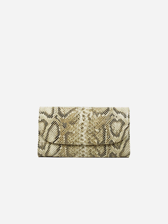 Didi Vegan Leather Clutch   Cream Python