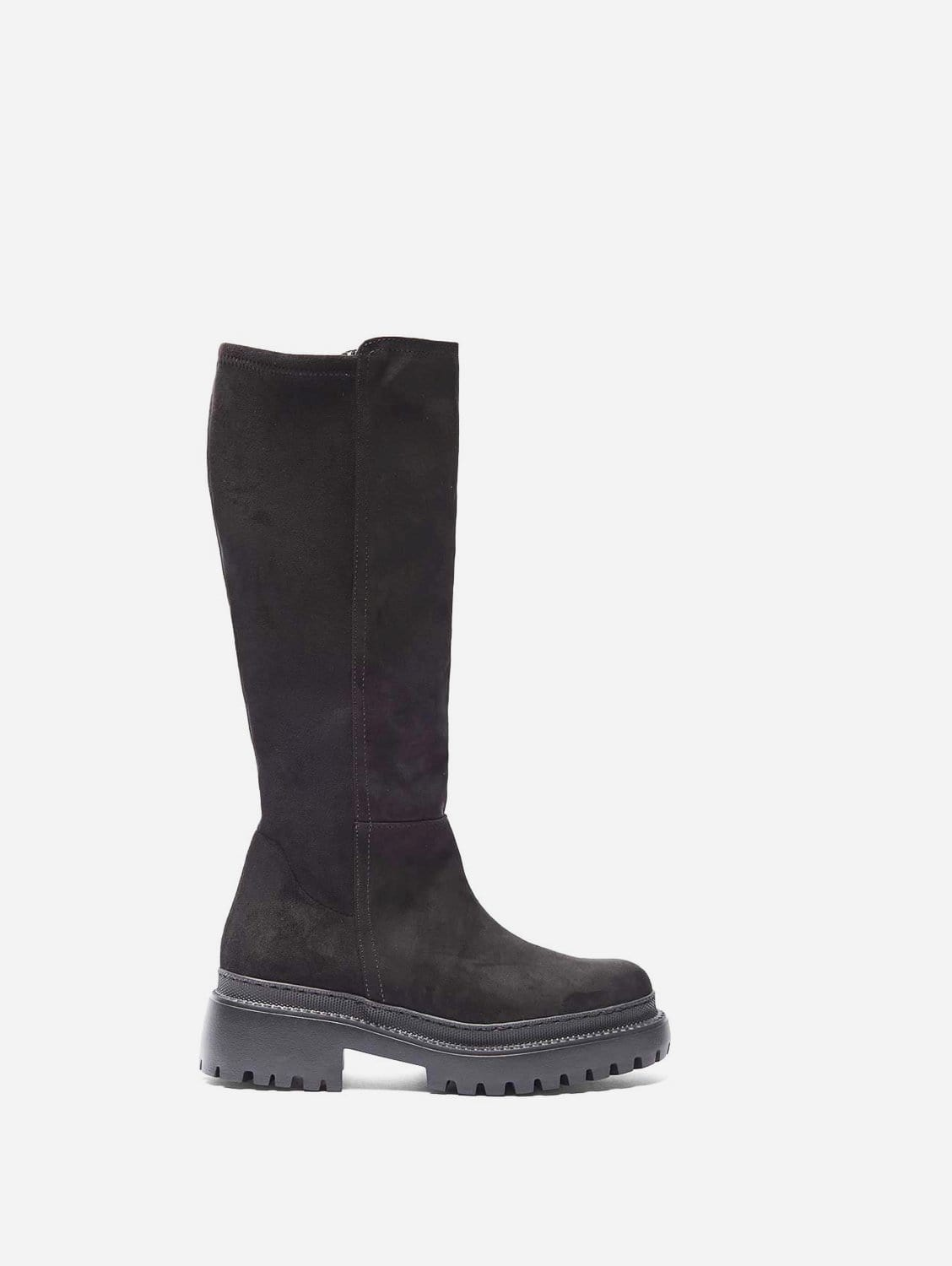 Laila Recycled Polyester Vegan Suede Winter Boots   Black