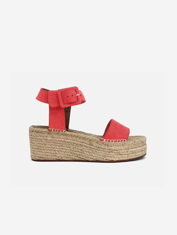 Jen Recycled Polyester Vegan Suede Platform Sandal | Watermelon