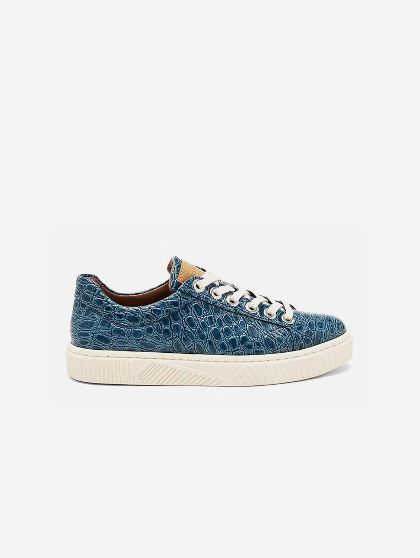 Idris Vegan Patent Leather Trainer | Blue Croc