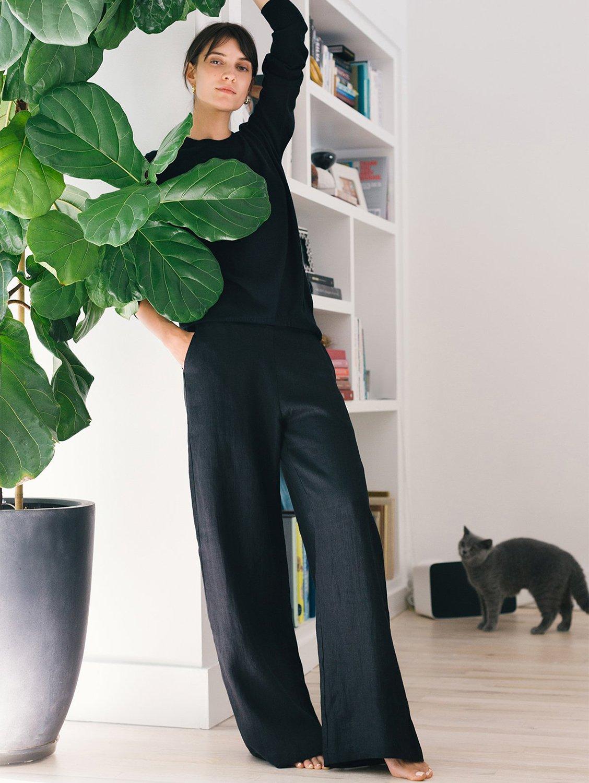 Cara Organic Linen Wide Palazzo Trousers | Black
