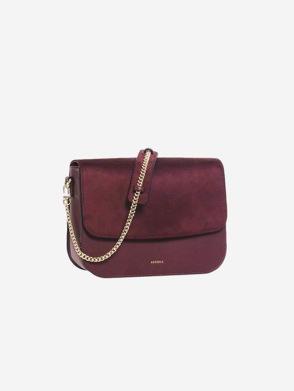 Brigitte Oxymore Vegan Leather & Microsuede Handbag   Burgundy