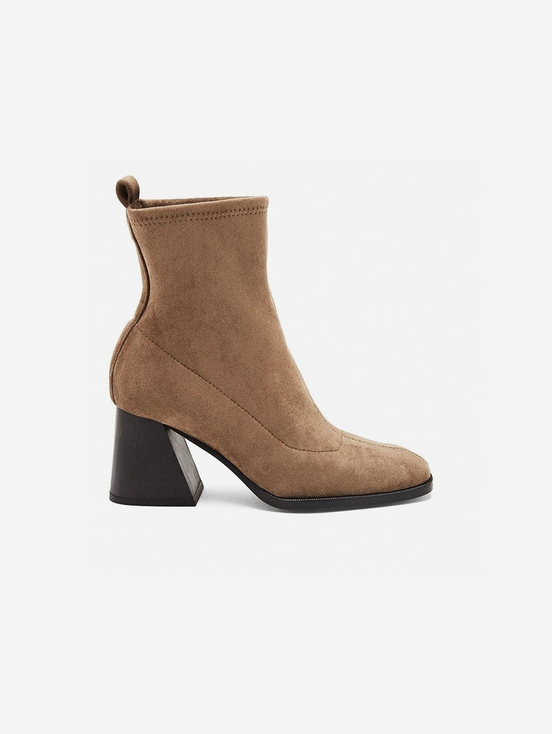Gabriela Vegan Suede Sock Ankle Boot   Taupe