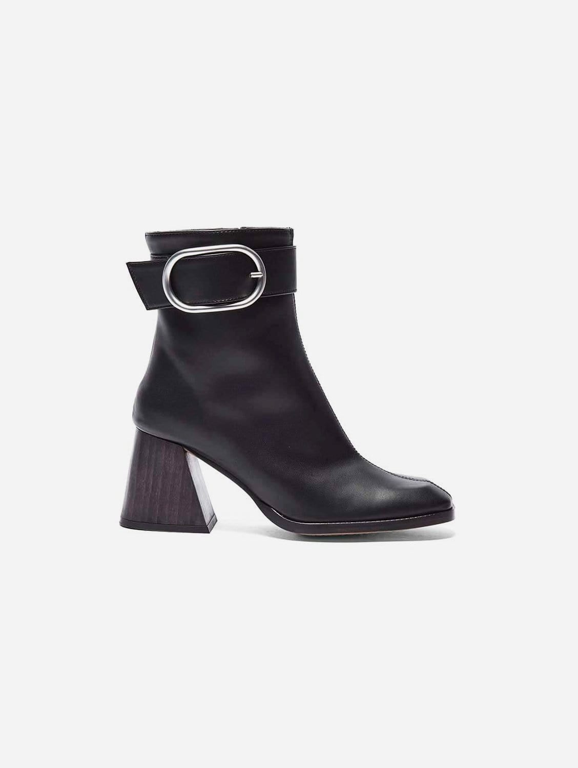 Laura Vegan Leather Ankle Boots   Black