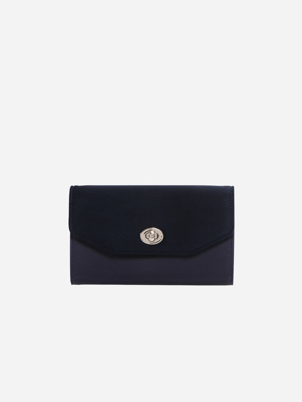 Piaf Oxymore Vegan Leather & Microsuede Clutch Bag | Navy Blue