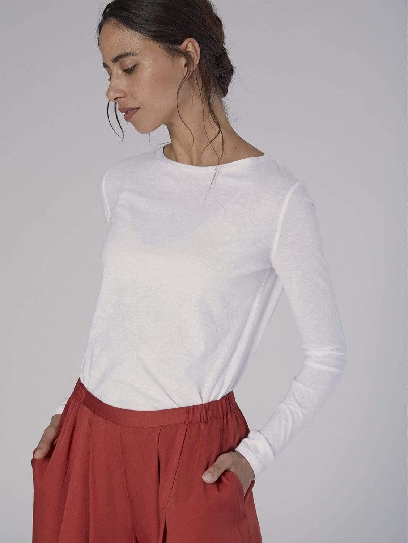 Organic Cotton & SeaCell™ Long Sleeve Crewneck Tee | Multiple Colours