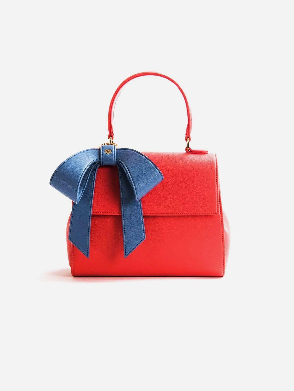 Cottontail Vegan Leather Handbag | Coral & Blue