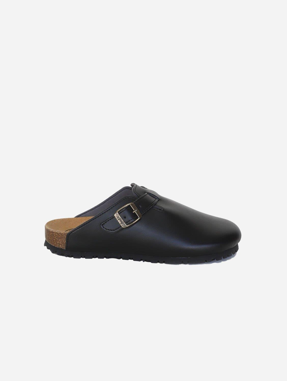 Gena Vegan Leather Slide-on Sandal | Black