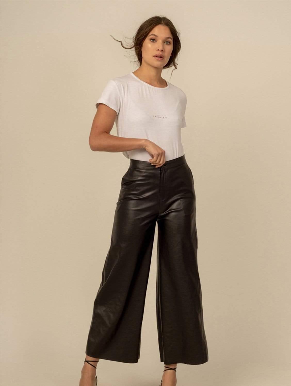Nikole High Rise Vegan Leather Culottes | Black