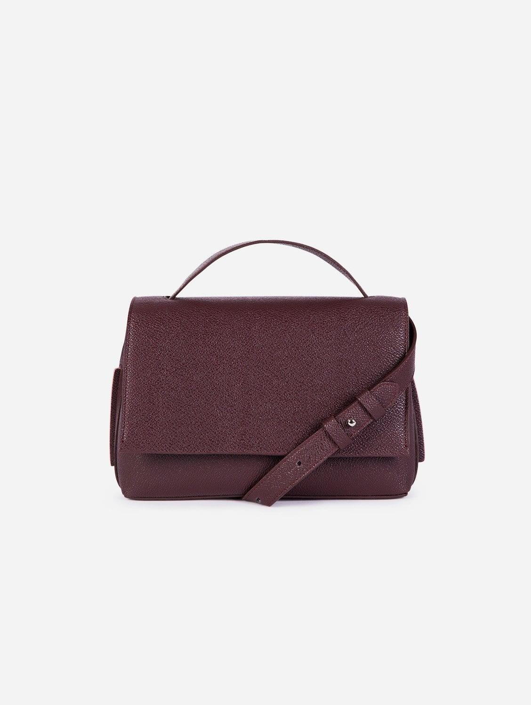 Zanele Apple Leather Vegan Crossbody Bag   Burgundy