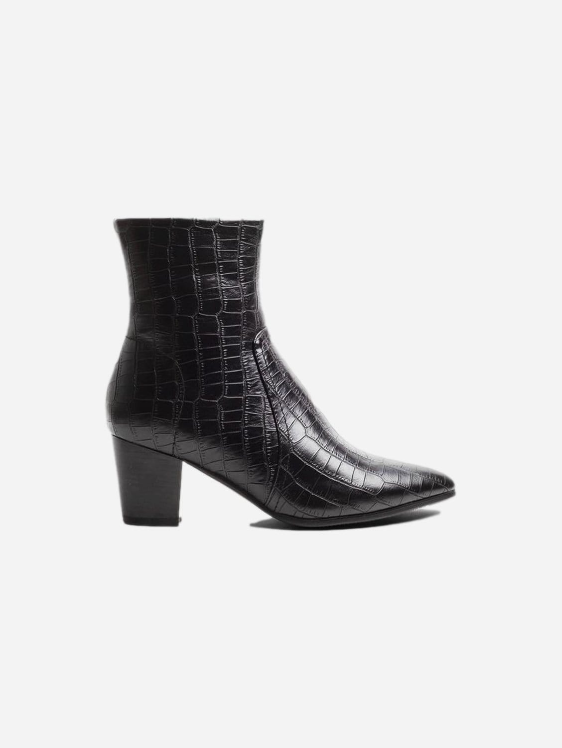 Kali Up-Cycled Vegan Leather Boots   Black Croc