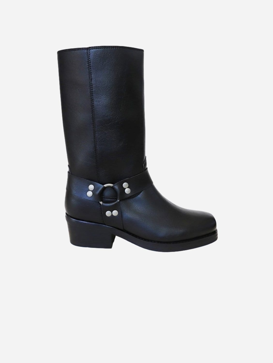 Harry Vegan Leather Harness Motorcycle Boots | Black