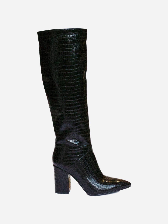 Carina Up-Cycled Vegan Leather Knee High Boot | Black Croc